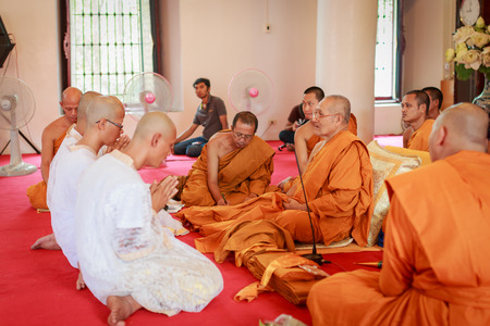 ordain: Male will be ordained Buddhist walk to the temple Editorial