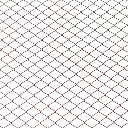 chained link fence: Fence from steel mesh on white background isolated.