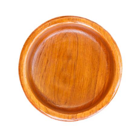 Empty wood plate isolated on white background. photo