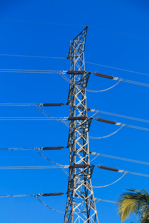bluesky: high-voltage tower in the blue-sky background