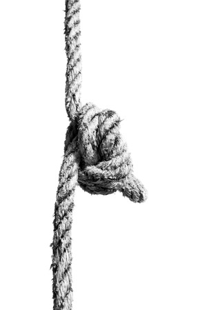 Knotted Rope on White. Stock Photo
