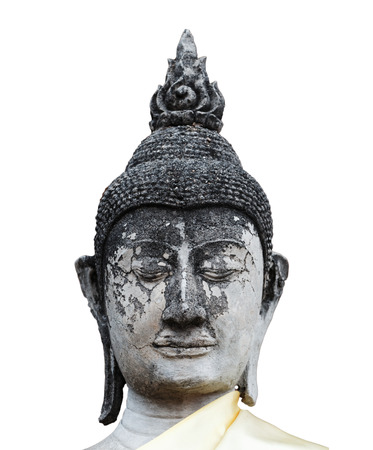 buddhism prayer belief: Close-up head of old buddha statue in Thailand isolated on white background