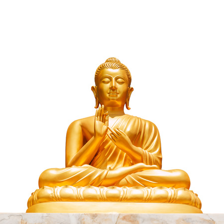 Golden buddha statue isolated on white background Фото со стока
