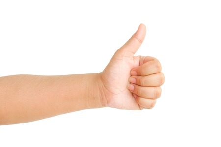 Thumb up hand signs isolated on white background