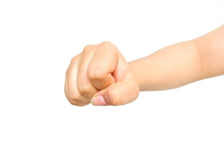 adult hand: Male hand clench one fists isolated on white background. Stock Photo