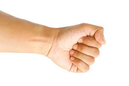 clench: Male hand clench one fists isolated on white background. Stock Photo