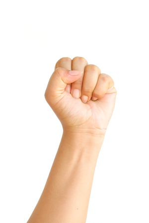 man arm: Male hand clench one fists isolated on white background. Stock Photo