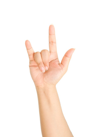 gestos: Gestos de la mano del hombre aislado en fondo blanco
