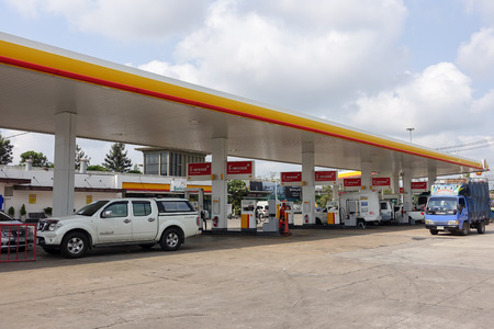 public service: Gas station : Shell gas station on March 30, 2015 in Bangkok, Thailand. Ready public service.