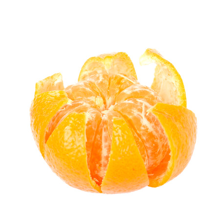 Orange peeled isolated on white background