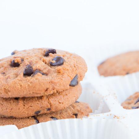 cikolatali: cookies on white background. Stock Photo