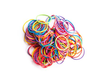 flexible business: group of colorful elastic band on white background Stock Photo