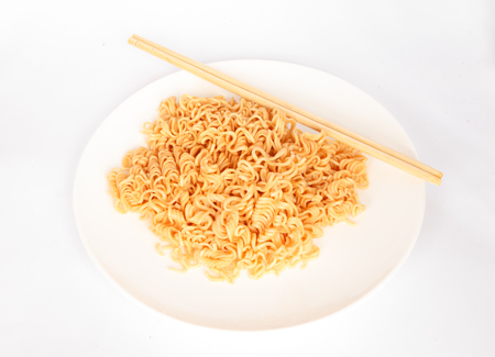 sev: Pure noodle on white plate isolated on white background.