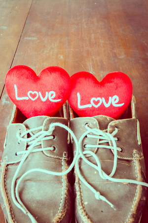 old sign: Love sign in old shoes, valentine day.