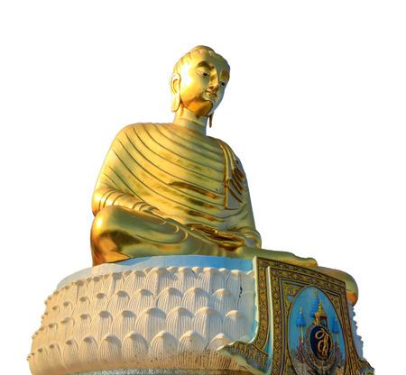 buddha statue: Golden buddha statue isolated on white background Stock Photo