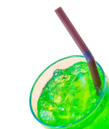 whitebackground: Green tasty cocktail on whitebackground Stock Photo