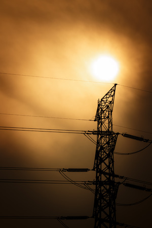 electric line: High voltage electric line with the sun