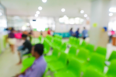visitador medico: Imagen borrosa de personas no identificadas y paciente médico o la medicina de espera en el hospital. Foto de archivo