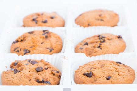 galleta de chocolate: Galletas con chispas de chocolate sobre fondo blanco