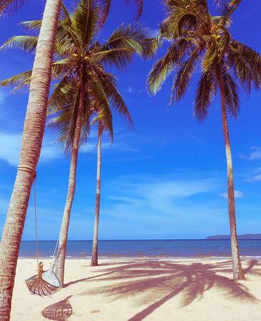 Hammock with sand on the beautiful beach