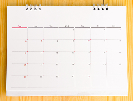 Close up of calendar 2015 on wooden table. Stock Photo
