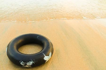 float tube: Close up pool ring at the sea.