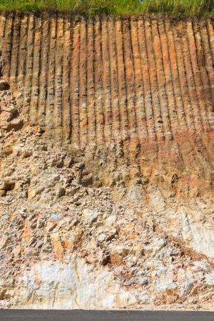 rock layers: rock strata layers of the soil on broken mountain