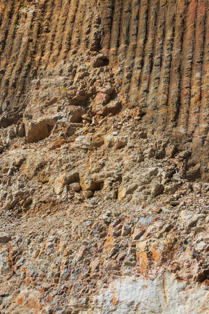 rock strata: rock strata layers of the soil on broken mountain