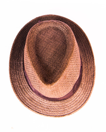Brown man hat isolated on white background. Stock Photo