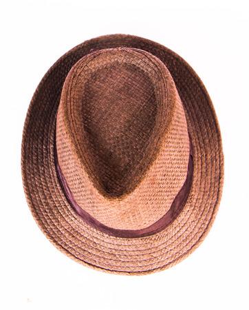 homme chapeau brun isolé sur fond blanc.