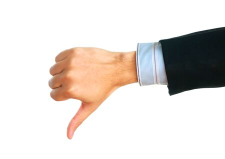 disapprove: Male hand showing thumbs down sign. Stock Photo