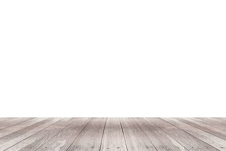 mesa de madera aislada sobre fondo blanco para poner sus productos.