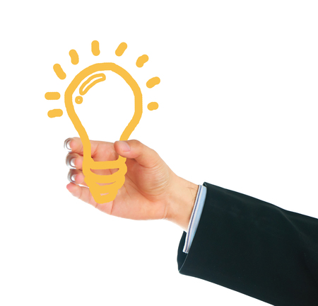 male hand holding writing lamp on white background, idea concept. Stock Photo