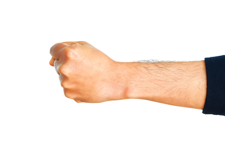 Man hand showing fist isolated on white background.