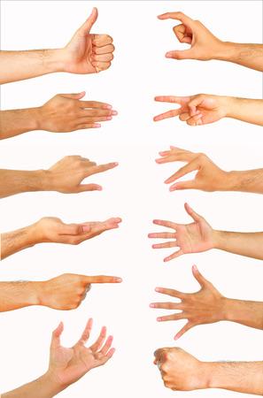 Collectie van hoge resolutie mannelijke handgebaren