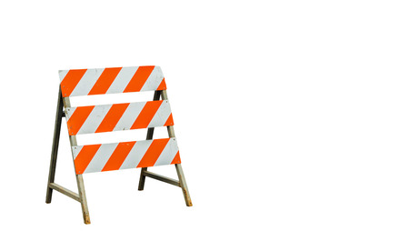 flashers: Under construction sign on white background with blank space for insert texts.