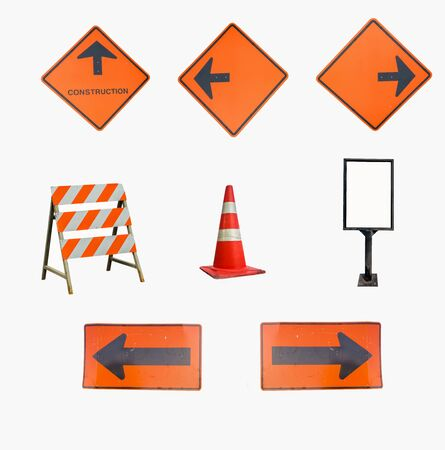 caution sign on road isolated on white background. Stock Photo
