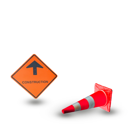 delimitation: caution sign on road isolated on white background. Stock Photo