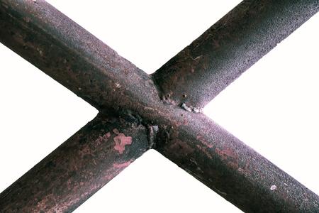 Grunge metal tube isolated on white background, old tube. Stock Photo