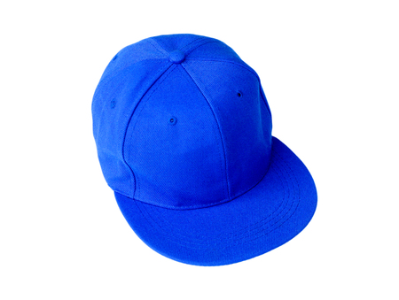 blank space: Blue baseball cap with blank space for insert text isolated on white background. Stock Photo