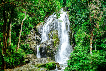 beautiful waterfall in the forest in Thailand