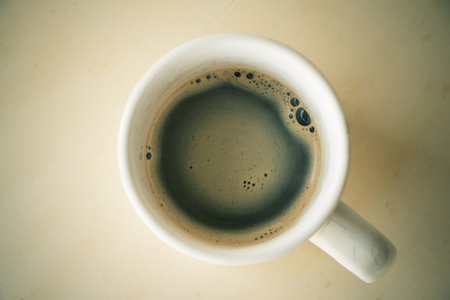 Top view of espresso coffee put on tabletop vintage tone style. Stock Photo