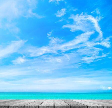 wooden plank with beautiful beach background