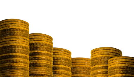 stockpile: Many golden coins isolated on white background