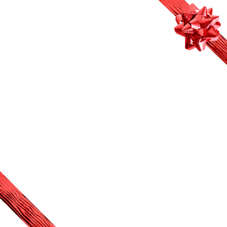 blank space: Red ribbon with blank space for texts or something display isolated on white background Stock Photo