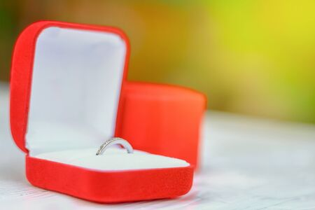 nature of sunlight: Close up wedding ring in red box with fresh nature green background and sunlight