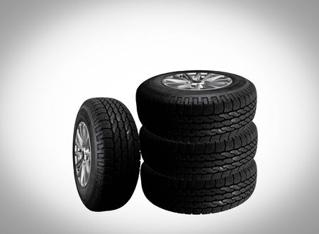 isolated on gray: Close up tire with space for texts display isolated on  gray background