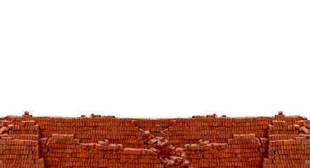 heap: Heap red brick at construction site isolated on white background with blank space for texts display
