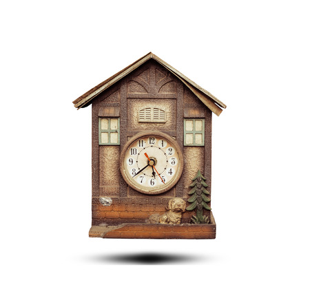 Old rustic clock isolated on white background