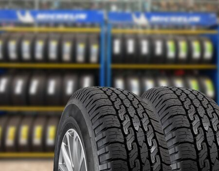 winter tires: Close up tires for sell at the shop Stock Photo
